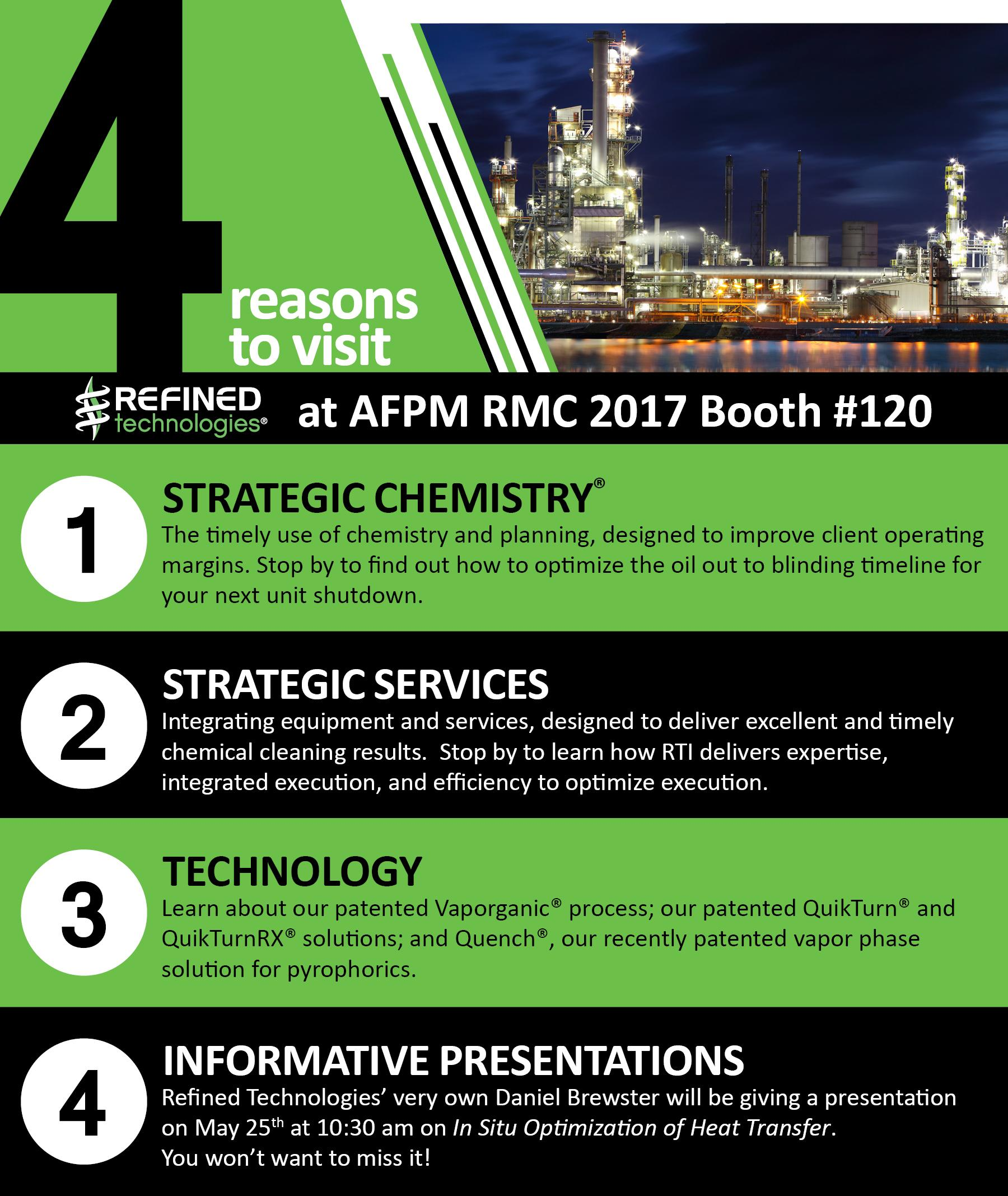 Don't forget to stop by Booth #120 at the American Fuel & Petrochemical Manufacturers (AFPM)
